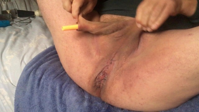 Wanking and anal with ... orange highlighter