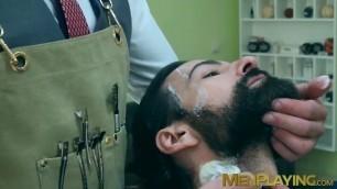 Bearded businessman Miguel Angel bareback barber banging